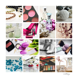 Glamorous Fashion & Cosmetics Collage
