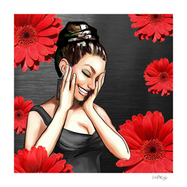 Retro Pinup Girl Laughing Red Daisy Flowers