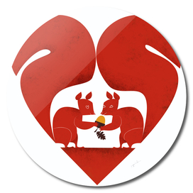 St Valentine Squirrel Lovers in Red