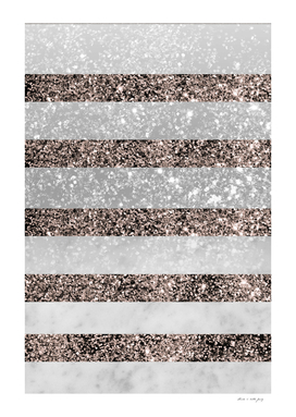 White Marble Rose Gold Glitter Stripe Glam #2 #minimal