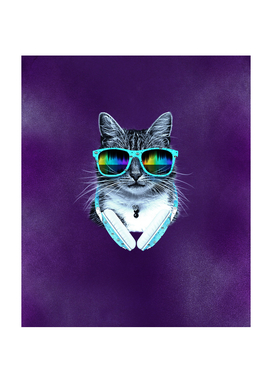 Cool Cat With Glasses And Headphones