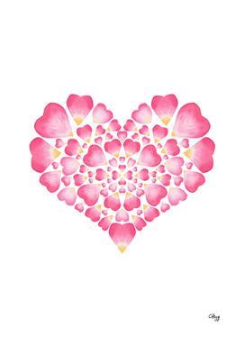 I Heart You- Pink Petal Heart