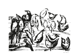 Birds- white and black drawing