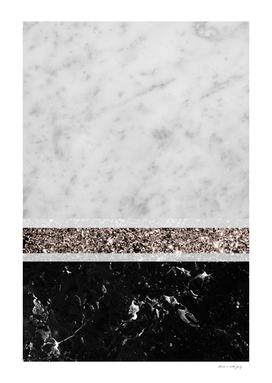 White and Black Marble Rose Gold Glitter Stripe Glam #1