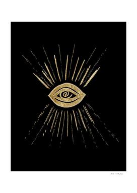 Evil Eye Gold on Black #1 #drawing #decor #art