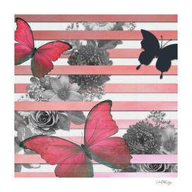Butterflies Pink Stripes & Grayscale Flowers
