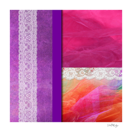 Pink & Purple Lace Abstract Collage