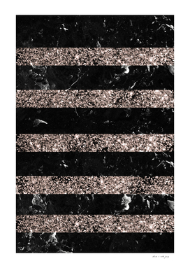 Black Marble Rose Gold Glitter Stripe Glam #1 #minimal