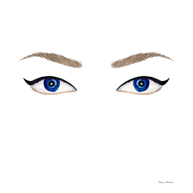 Watercolor blue eyes with black eyeliner