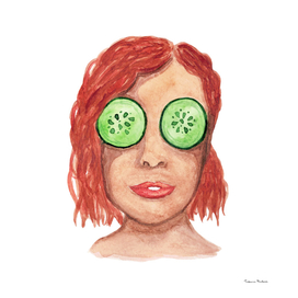 Watercolor red-haired girl with a mask of cucumbers