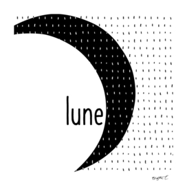 Minimalist Moon Lune Black and White Lines Typo