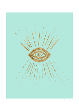 Evil Eye Gold on Mint #1 #drawing #decor #art