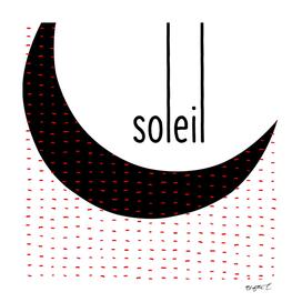 Minimalist Sun Soleil Black and White Lines Typo