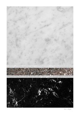 White and Black Marble Silver Glitter Stripe Glam #1