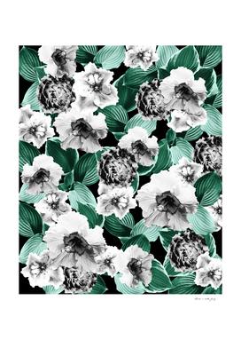 Black and White Floral Garden Glamor #3 #floral #decor #art