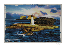 Bahamas Lighthouse with Resort Moku Hanga