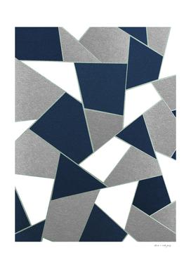 Navy Blue Gray White Mint Geometric Glam #1 #geo #decor #art