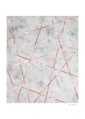 White Marble Rose Gold Geo Glam #2 #geo #decor #art