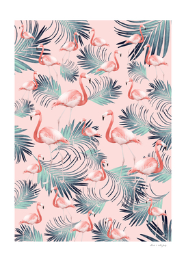 Blush Flamingo Palm Vibes #2 #pastel #tropical #decor #art