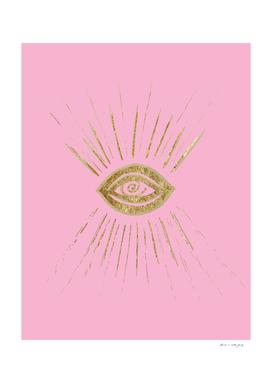 Evil Eye Gold on Pink #1 #drawing #decor #art