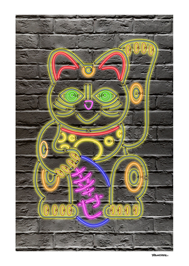 Maneki-Neko Neon – Good Luck – Black