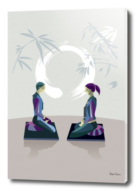 Man and Woman Meditating with Enso