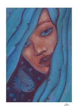 Blue Hair, Mermaid Portrait