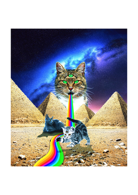 Trippy Three-Eyed Cat - Mystical Egypt