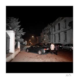 Night View with Women and Car