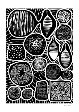 Black and White Cuts - linogravure style