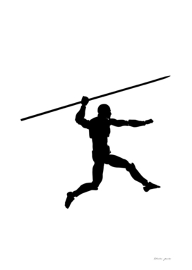 Silhouette of a running man with a spear