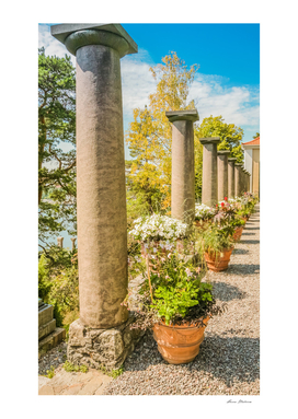 Park with columns in the open air day Sweden - image