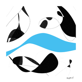 Minimalist Black and White Blue Curves Lines