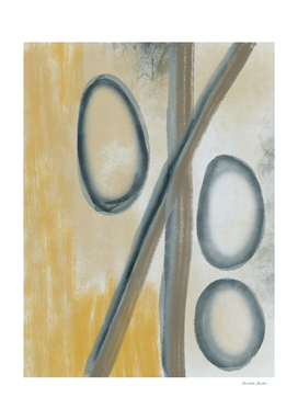 Yellow Gray Blue Abstract Circles Lines