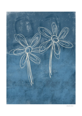 Flower Drawing Blue