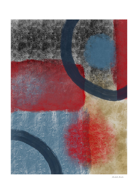 Textured Blue Red Yellow Abstract