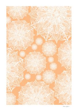 White and Yellow Golden Mandala Snowflakes Pattern