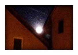 Supermoon over houses