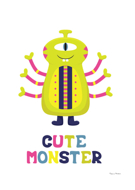 Cartoon funny alien. Cute monster.