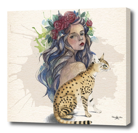 Watercolor Island Girl And Cat