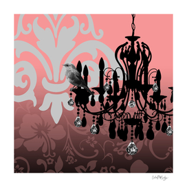 Vintage Chandelier & Bird Floral Damask Backdrop