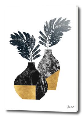 Floral marble vase