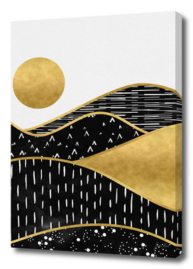Gold Sun Rise, surreal landscape digital art