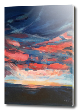 Sunset seascape navy, coral clouds