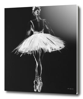 Ballerina black white, pastel on black paper