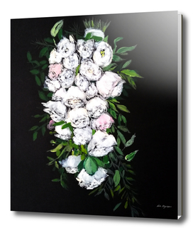 White flowers painting,Floral, bridal roses