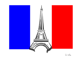 eiffel tower france flag tower