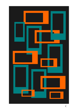 Mid Century Modern Rectangles - Orange and Teal