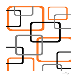 Geometric Rounded Rectangles Collage Orange