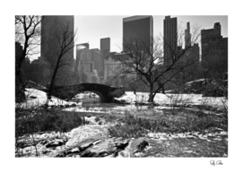 Gapstow Bridge of Central Park with snow in winter B&W